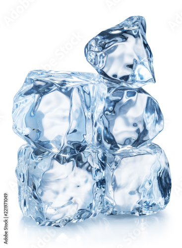 Ice cube pyramid. Clipping path.