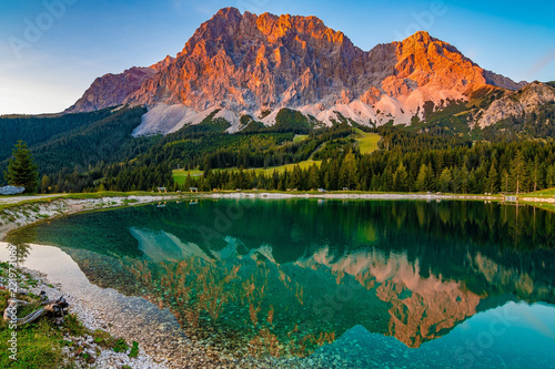 A beautiful view on the Ehrwalder Almsee and the Zugspitze on a sunny summer day Canvas Print