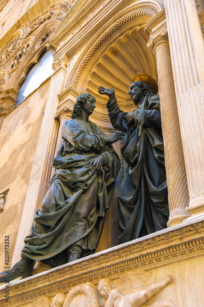Photo & Art Print Closeup view of the statues on the