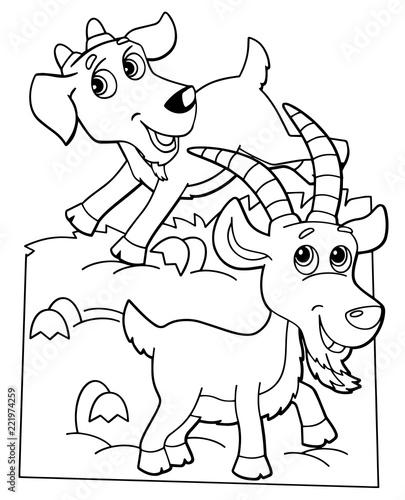Tuinposter Doe het zelf cartoon scene with happy goat friends on white background - vector coloring page - illustration for children
