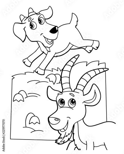 Foto op Aluminium Doe het zelf cartoon scene with happy goat friends on white background - vector coloring page - illustration for children