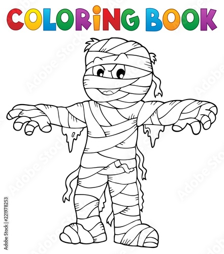 Coloring book mummy theme 1