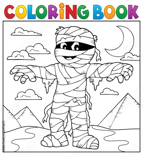 Coloring book mummy theme 2