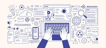 Horizontal Banner With Hands Typing On Laptop Keyboard, Various Electronic Devices And Symbols. Programming, Software Development, Coding. Monochrome Vector Illustration In Modern Line Art Style.