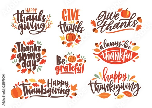 Collection of Thanksgiving day letterings decorated by seasonal design elements and isolated on white background Canvas Print