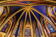Beautiful Lower Chapel Of The Sainte-Chapelle (Holy Chapel), A Royal Medieval Gothic Chapel In Paris, France, On April 10, 2014
