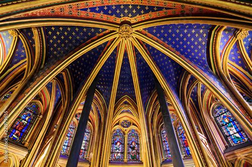 Slika na platnu Beautiful lower chapel of the Sainte-Chapelle (Holy Chapel), a royal medieval Go