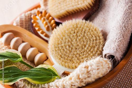 Fototapeta brushes for dry body massage obraz