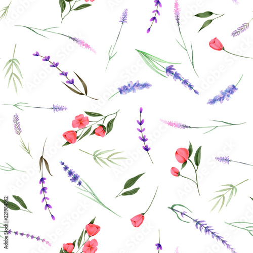 Fotografie, Obraz  Seamless pattern, ornament of watercolor floral elements (herbs, lavender, wildf