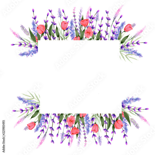 Fotografie, Obraz  Frame border with watercolor wildflowers and lavender, hand painted on a white b