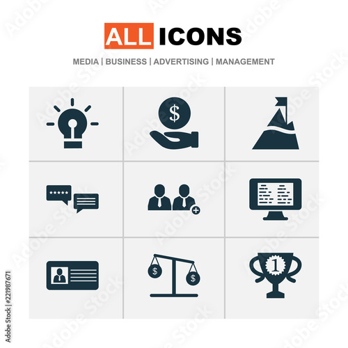 Fotografie, Obraz  Work icons set with 5-star review, id card, hand money peak  elements