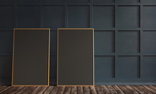 3d Rendering Illustration Of Living Room With Luxury Dark Blue Wooden Wall Panel, Parquet And Two Black Frosted Canvas In Gold Frames. Gorgeouos Classic Texture Of Squares. Artwork And Poster Mock Up.