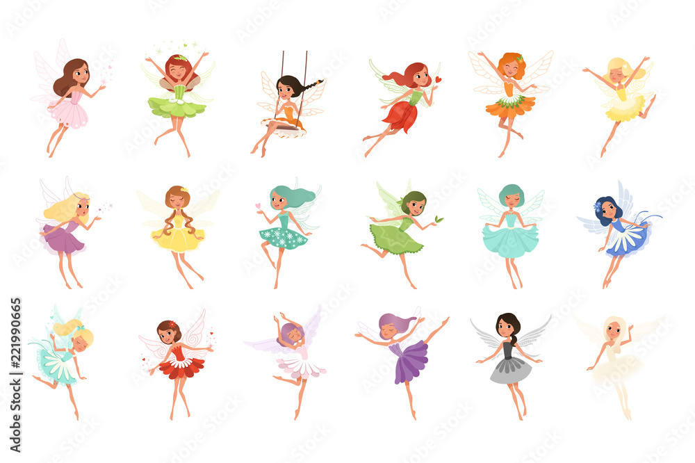 Fototapeta Colorful set of fairies in flying action. Little creatures with colorful hair and wings. Mythical fairy tale characters in cute dresses. Flat vector design