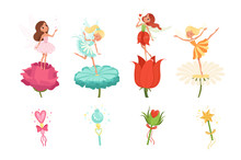 Set Of Little Fairies Hovering...
