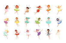 Colorful Set Of Fairies In Fly...