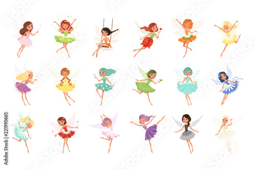 Cuadros en Lienzo Colorful set of fairies in flying action