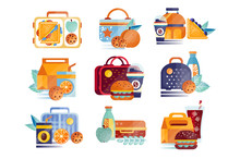 Vector Set Of Icons With Lunch...