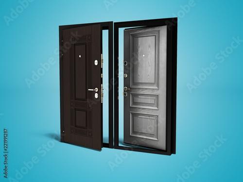 open front door illustration concept outdoor armored open front door 3d render on blue background with shadow