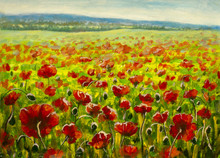 Poppy Field And Mountains - Mo...