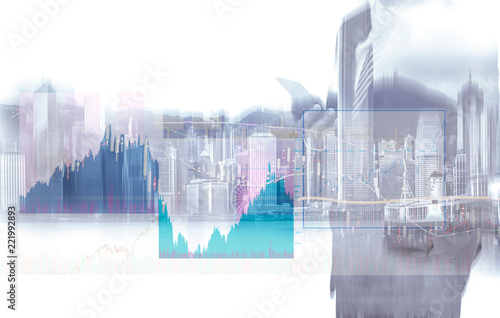 Foto op Canvas Stad gebouw Double exposure of businessman and Hong Kong city view with stock market