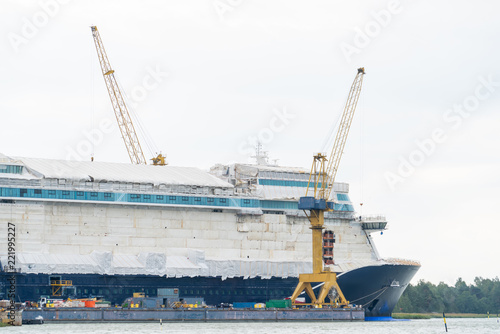 Fotografie, Obraz Construction of a cruise liner at the shipyard