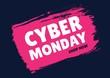canvas print picture - Cyber Monday Sale font on pink splash