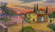 canvas print picture - Haus am See mit schwarzer Laterne im Vordergrund