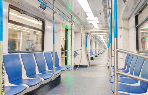 Car train subway inside interior with simple perspective lines.