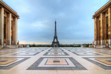 Beautiful morning view of the Eiffel tower seen from Trocadero square in spring in Paris, France