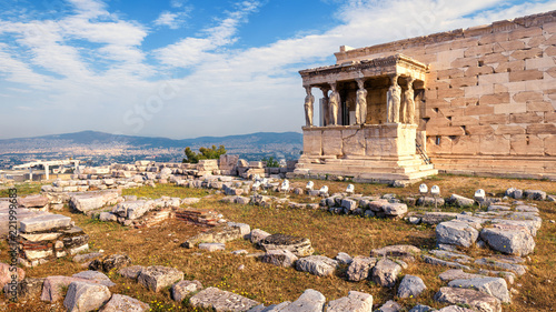 Poster Athene Erechtheion temple with Caryatid Porch, Athens, Greece