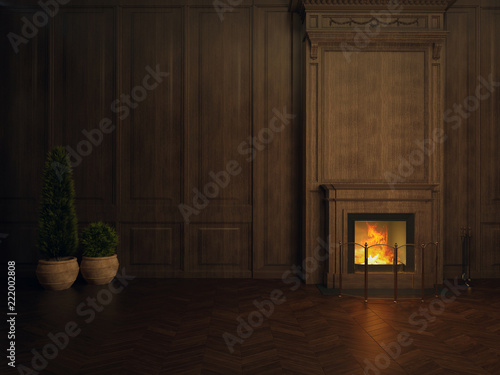 Foto op Plexiglas Wand fireplace in the room panelled in wood