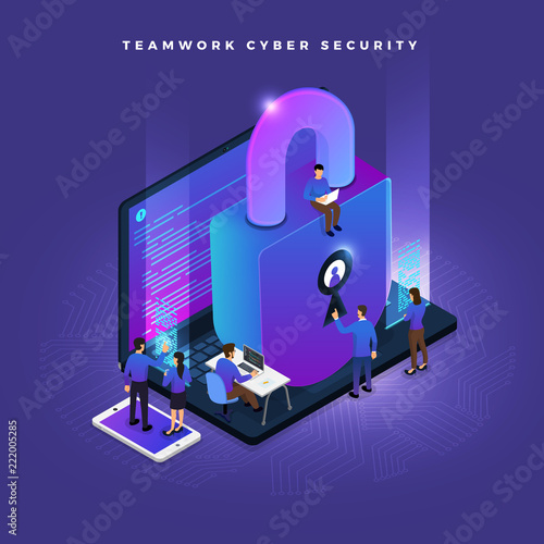 Isometric cyber security Wallpaper Mural