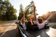 Сompany of young people riding in a cabriolet on the road and holding their hands up on a warm sunny day. Back view.