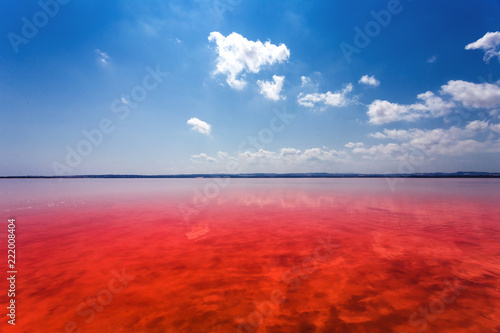 Foto op Plexiglas Rood traf. The salty shore of the Laguna Salada de Torrevieja.Spain.