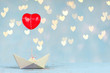 canvas print picture - Papierboot mit roten Herz