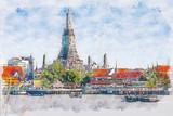 Akwareli ilustracja Wat Arun, Bangkok, Tajlandia - 222012295