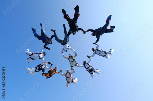 Fototapeta Skydiving. Formation is in the sky.