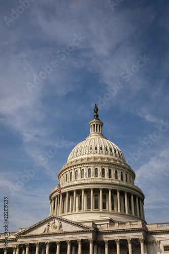 Valokuva  The Dome of the United States Capitol Building in Early Light with Copy Space