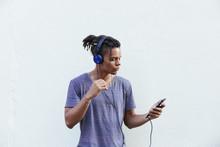 African American Guy In Headph...