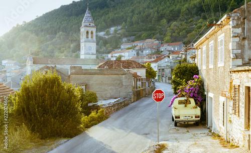 Fototapeta Empty road on Korcula island, Croatia