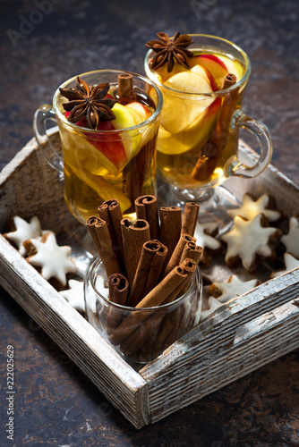 hot apple tea with spices and gingerbread cookies, vertical