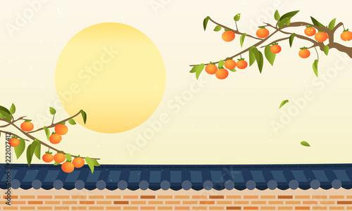 Photo  Korean Harvest Mid Autumn Festival(Chuseok) Background vector illustration, Persimmon tree with traditional Korean stone wall fence