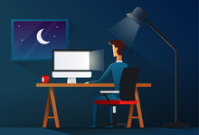 Business Man Working Late Night. Workload Concept - Vector Illustration