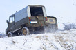 Russian SUV, Off-road vehicle slips in winter
