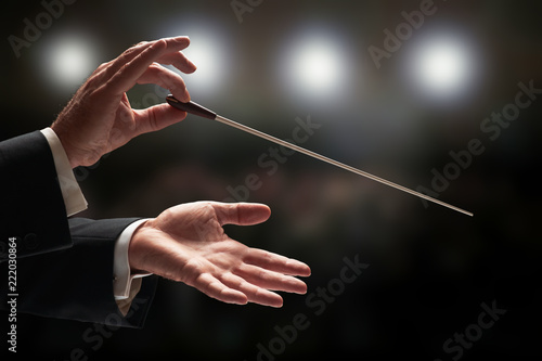 Fotografie, Tablou Conductor conducting an orchestra