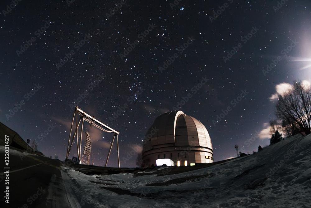 Fototapety, obrazy: The view of the telescope BTA on a dark background of a starry sky. Arkhyz. Night astrophotography. Karachay-Cherkessia. SAO RAS.
