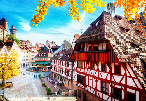 Photo sur Toile Europe Centrale Old town of Nuremberg at sunny fall day, Germany at fall, retro toned