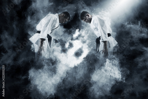 Tuinposter Vechtsport Two male karate fighting