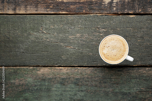 Fotografie, Obraz  Cup of coffee on grey wooden table