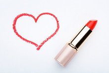 Red Heart Drawn By Lipstick On White Background